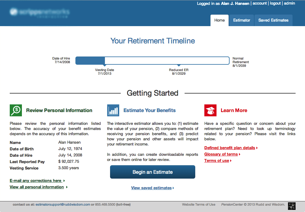 Home page of Pension Estimator