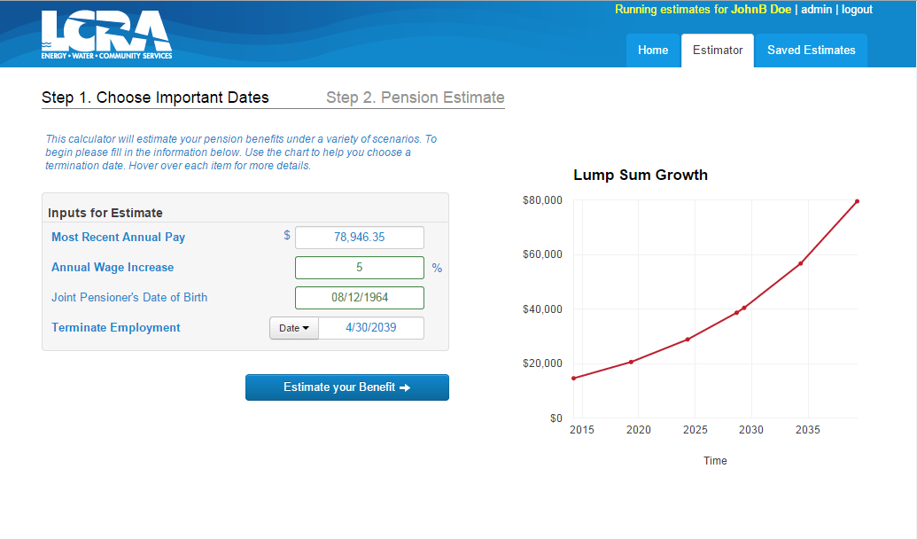 Lump sum page of Pension Estimator